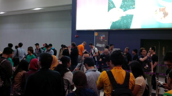 Developers awaiting to the entrance to Jam Asia