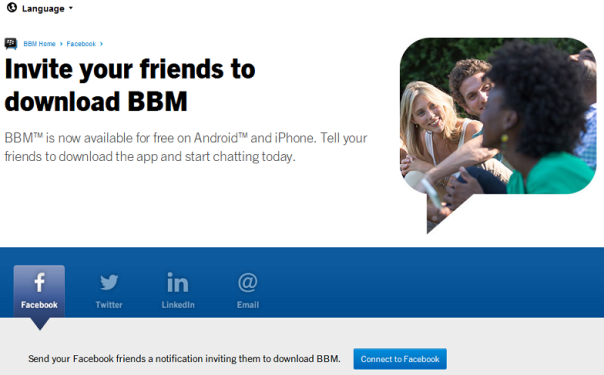 BBM.com now allow you to easily invite your friends to BBM