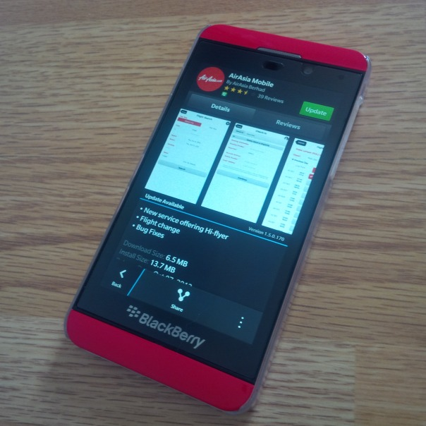 AirAsia Mobile for BlackBerry 10 have been updated with v1.5.0.170
