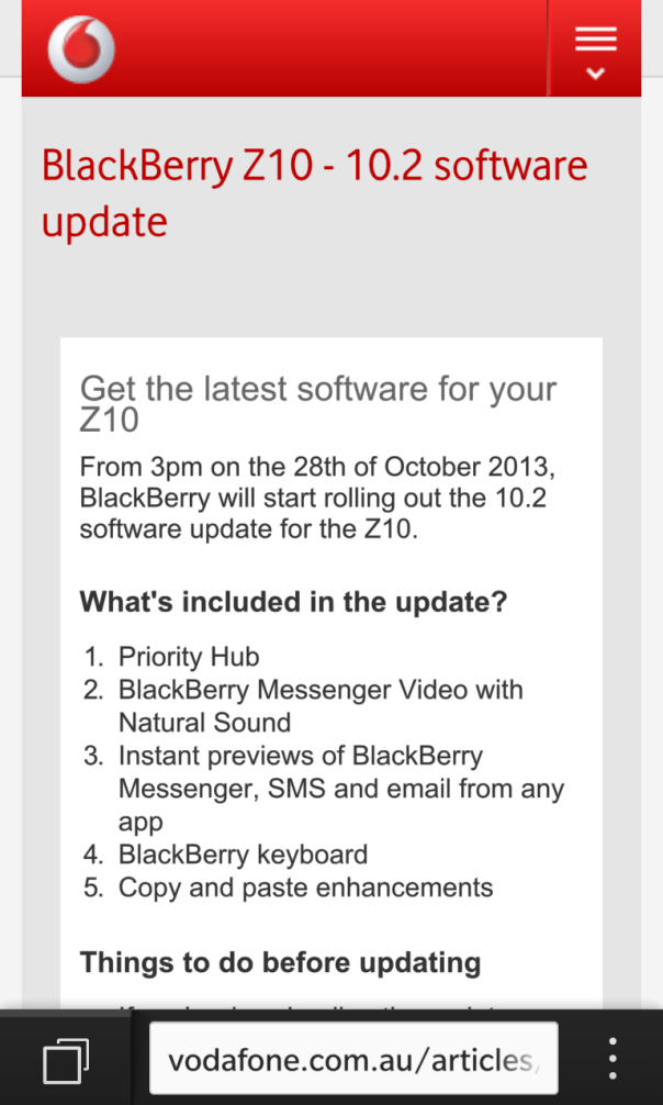 Vodafone Australia begin rolling out BlackBerry OS10.2.0.424