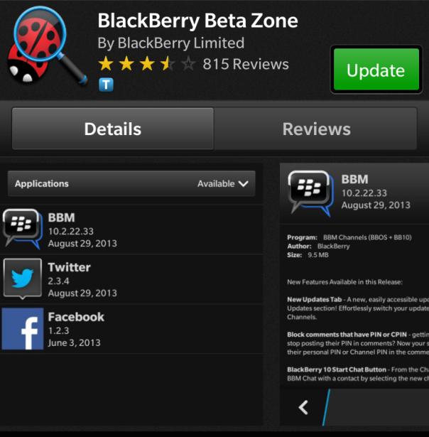 BlackBerry Beta Zone app updated to v10.0.0.26