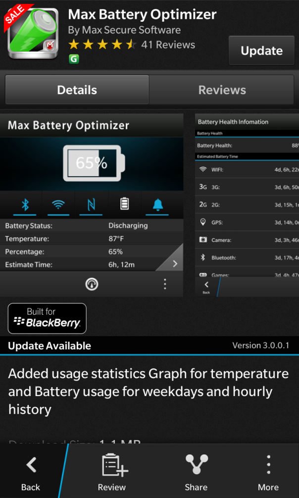 Max Battery Optimizer for BlackBerry 10 updated to v3.0.0.1