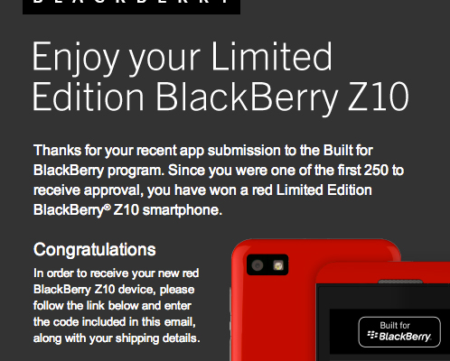 BlackBerry Z10 Limited Edition Now Available to First 250 Built for BlackBerry App Devs