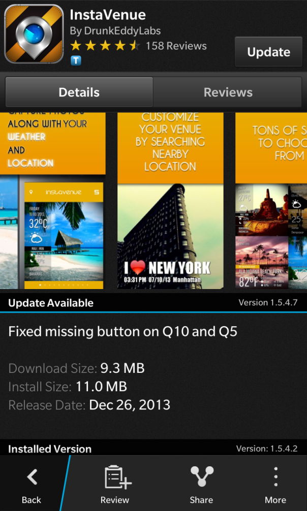 Instavenue for BlackBerry 10 release a minor update to v1.5.4.7