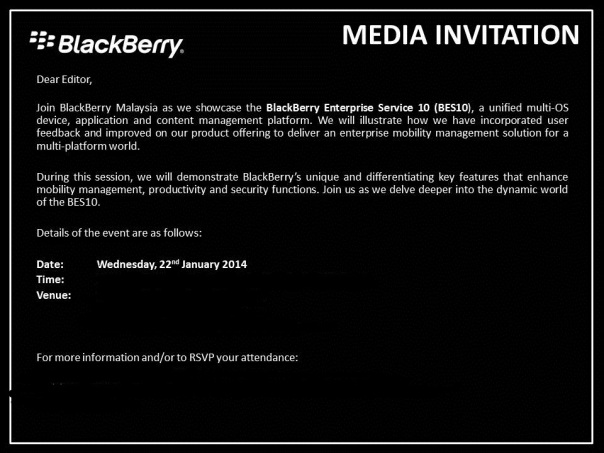 BlackBerry Media Event for BlackBerry Enterprise Service 10