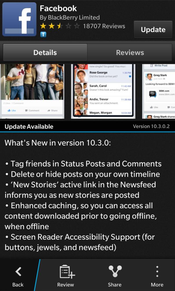 Facebook for BlackBerry 10 updated to v10.3.0.2