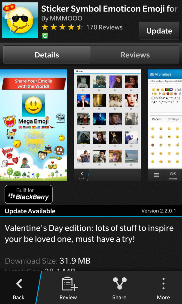 Sticker Symbol Emoticon Emoji for BlackBerry updated to v2.2.0.1