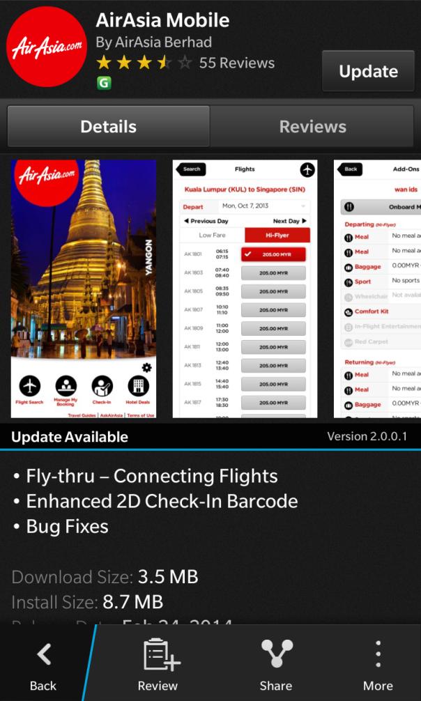 AirAsia app for BlackBerry 10 updated to v2.0.0.1
