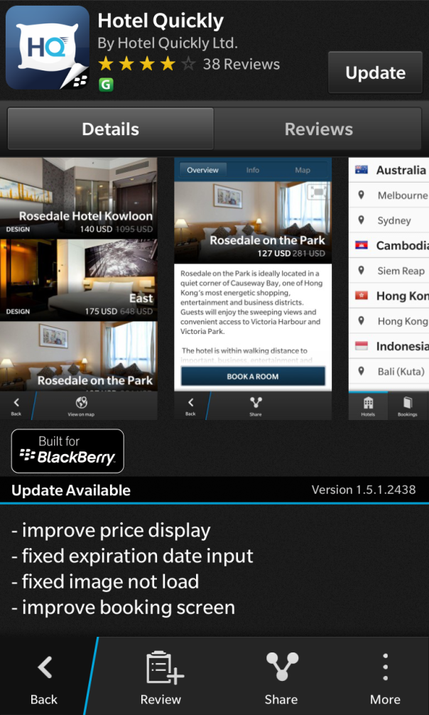 Hotel Quickly built for BlackBerry have updated to v 1.5.1.2438