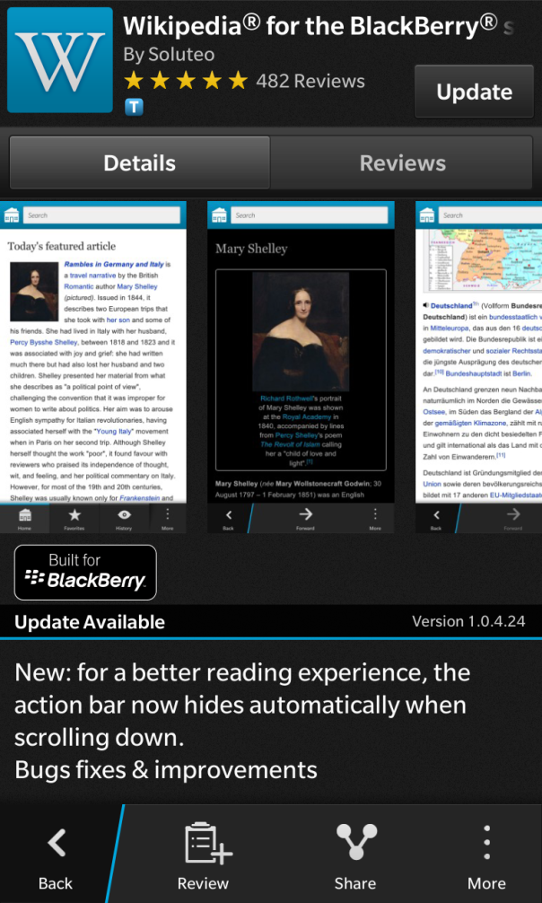 Wikipedia Built for BlackBerry 10 updated to v1.0.4.24