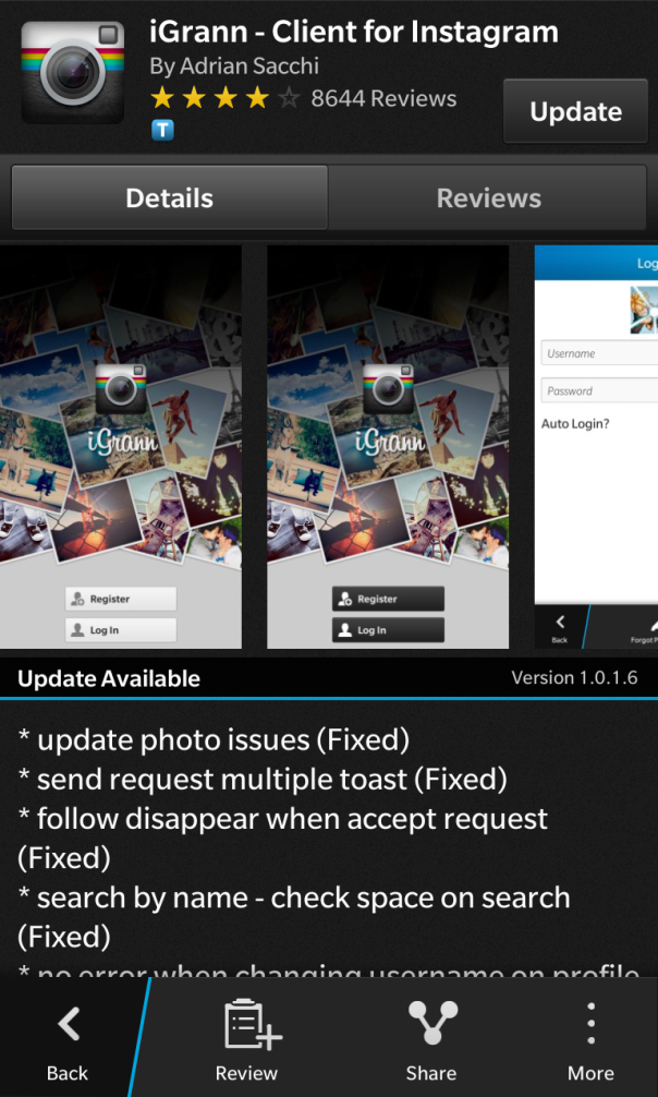 IGrann Client for Instagram for BlackBerry 10 updated to v1.0.1.6