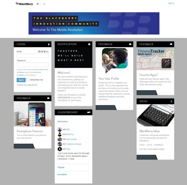 BlackBerry Launch The BlackBerry Innovation Community – Place To Share Your Ideas And Feedback