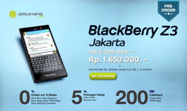 Pre-orders Begin for BlackBerry Z3 Jakarta in Indonesia