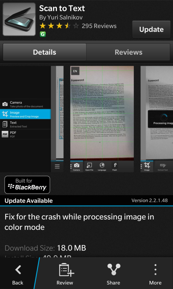 Scan to Text built for BlackBerry have release an update