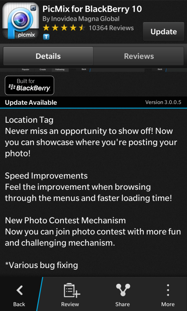 PicMix for BlackBerry 10 updated to v3.0.0.5