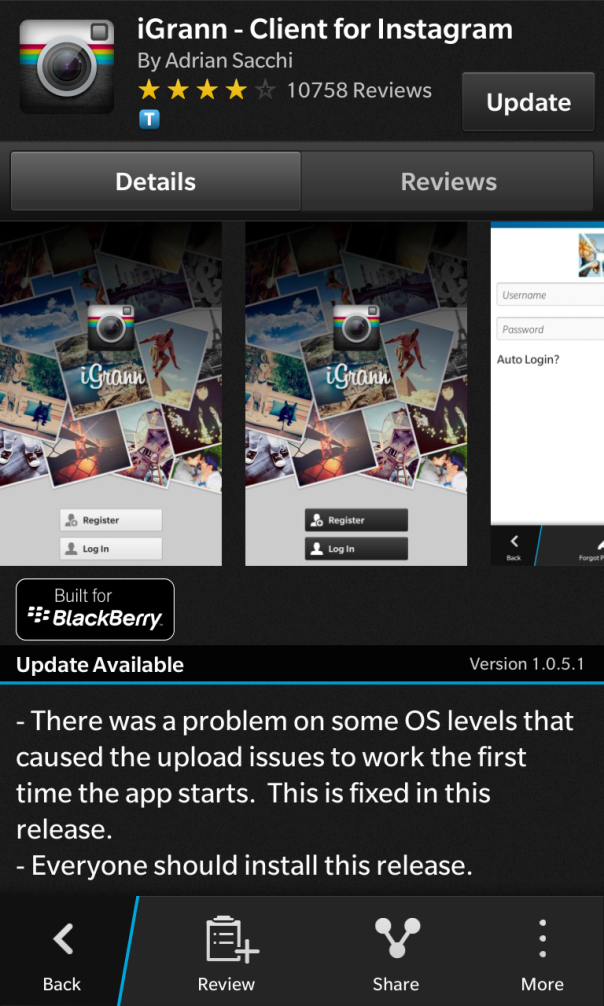iGrann - Client for Instagram for BlackBerry 10 updated