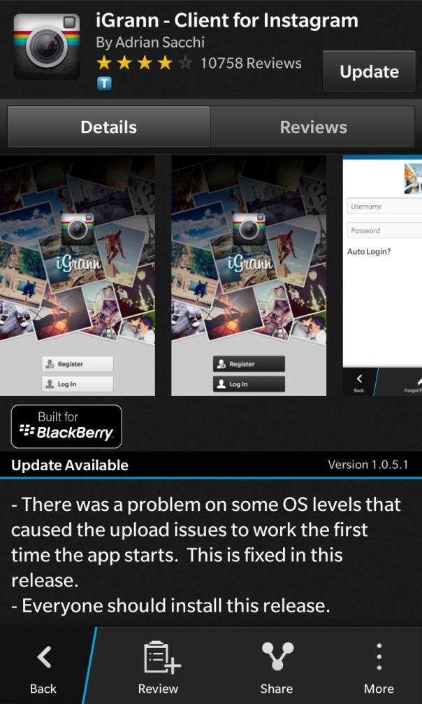 iGrann - Client for Instagram for BlackBerry 10 updated