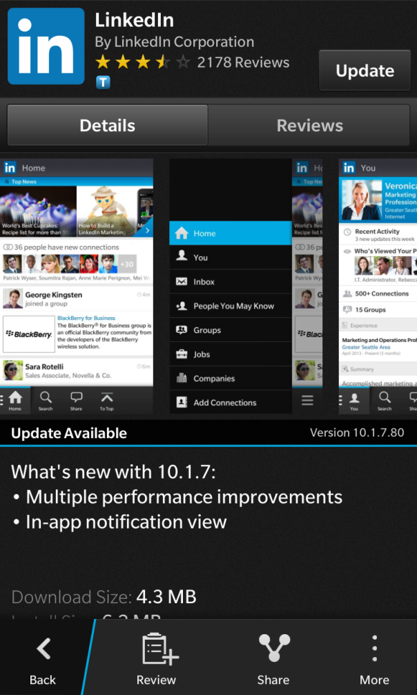 LinkedIn for BlackBerry 10 updated