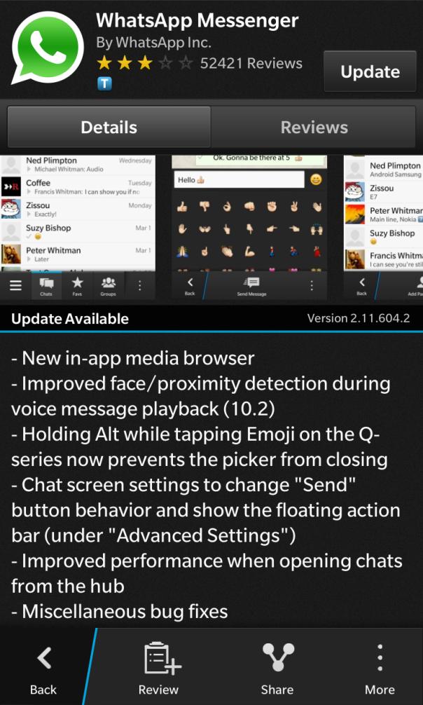 WhatsApp Messenger for BlackBerry 10 updated!