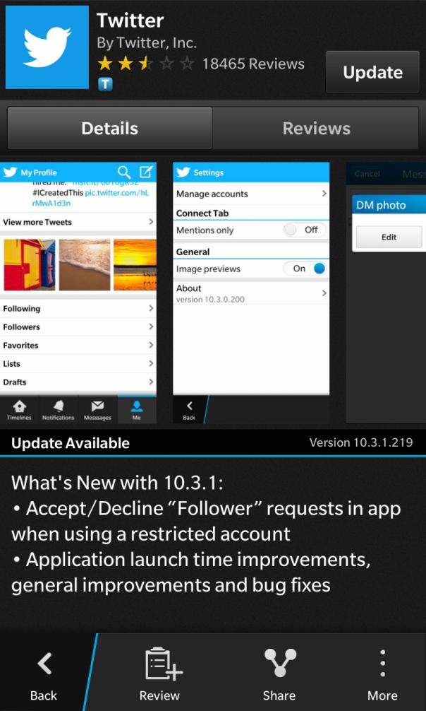 Twitter for BlackBerry 10 Updated!